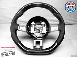 Ford Gt40 Flat Top Bottom 5mm White Ring Perforated Thick Carbon Steering Wheel