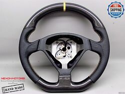 Ferrari F360 Perforated 8 Yellow Ring Thick Flat Bottom Carbon Steering Wheel V2