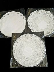 Bn Three Packs Various Size Paper Doilies Doileys Vintage