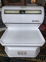 Vintage 1950s Sanitary Scale Co Porcelain Deli Butcher Grocery Meat Scale