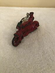 Antique Hubley Cast Iron Cop Motorcycle With Side Car And Passenger