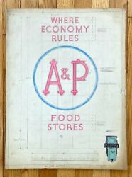 Vtg Antique Original 1940s Neon Sign Concept Drawing A And P Food Stores Ooak