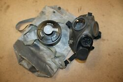 Swiss Army Sm67 Gas Mask W/ 40mm Nato Filter Canister Bag Military Black Small