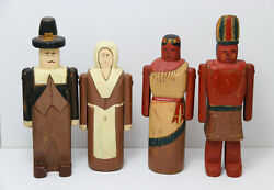 Wolf Creek Hand Carved Thanksgiving Pilgrims And Indians Native American Figures