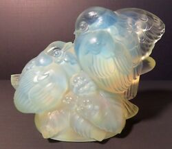 Sabino France Opalescent Signed Art Glass Two Birds On A Berry Branch Figurine
