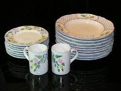 Herend Village Pottery Collection Bow And Lattice Hill Pattern Plates And Mugs