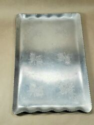 Vintage Mid Century Rectangle Aluminum Hammered Pine Cone Tray Made In Canada