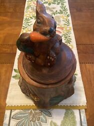 Vtg Easter Bunny Rabbit Eating Carrot Cookie Jar 14 Andldquo Tall Marked 2620-1-2-3