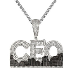 Rich City Ceo Icey Micro Pave Bling 14k White Gold Tone Hip Hop Pendant Chain