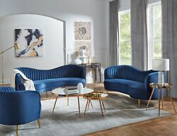 Modern Glam 2 Piece Curved Sofa Set W/ Couch And Loveseat Gold Legs And Blue Velvet