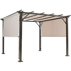 10and039 X 10and039 Pergola Kit Metal Frame Gazebo Andcanopy Cover Patio Furniture Shelter