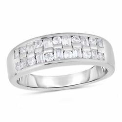 3/4 Ctw Baguette And Round Natural Diamond Two Row Wedding Band 14k White Gold