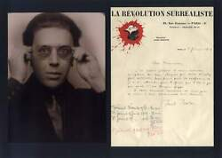 Writer Andre Breton Surrealism Autograph Letter Signed And Mounted