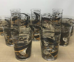 12 Mcm Black And Gold Dinking Glasses 1960s Engineer Road Construction Barware