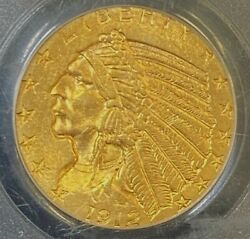 Pcgs Ms62 1912 5 Indian Head Gold Coin. Select Bu.