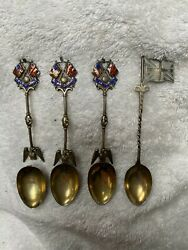 Hallmarked Silver Gilt Union Jack And Stars And Stripes Enamel Spoons X 4