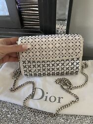 Christian Dior Silver Evening Clutch Bag Chain Shoulder Purse Mini $800.00