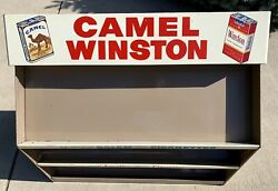 Camel Winston Cigarette Store Display Case Metal Sign 1960's Clean Near Mint