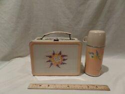 Vintage 1958 Metal Floral Tin Lunch Box With Thermos By Thermos Brand