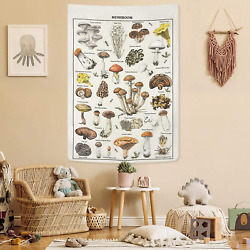Livole Mushroom Tapestry Vintage Tapestry Illustrative Reference Chart Tapestry
