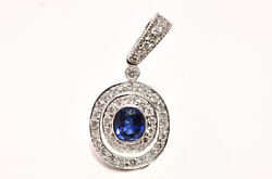 1ct Oval Blue Sapphire And Diamond Pendant In 18k Yellow Gold W/ White Rodium