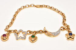 Diamond Star And Moon Bracelet W/ Ruby Emerald And Sapphire Charms In 18k Gold