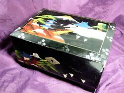 Vintage Japanese Black Lacquer Hand Painted Mt. Fuji Scenic Music Jewelry Box