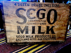 Antique Early 1900's Wooden Milk Box Sego Cans Sanfrancisco Salt Lake City Look