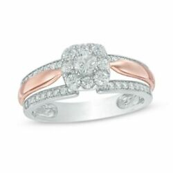 5/8 Ct Natural Diamond Frame Engagement Ring In 14k Two Tone Gold