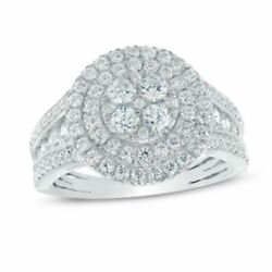 1 1/2 Ct Natural Diamond Double Frame Engagement Ring In 10k White Gold