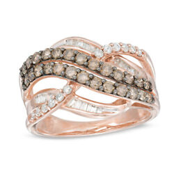 1 Ct Champagne And White Real Diamond Layered Crossover Ring In 10k Rose Gold