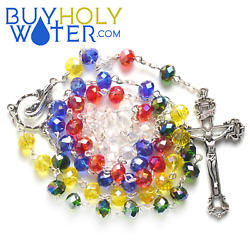 Blessed Unity Rainbow Crystal Rosary Beads Religious Necklace Crucifix Jesus.✞