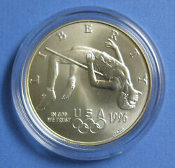 1996 Olympic High Jump Commemorative Uncirculated Silver Dollar With Box And Coa
