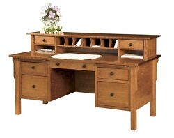 Amish Mission Writing Secretary Desk Solid Wood Home Office Topper Organizer