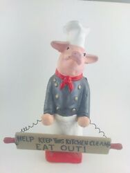 Vintage Chef Pig Figurine Statue Country Farmhouse Kitchen Decor With Sign