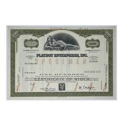 Playboy Enterprises Set Of 2 Stock Certificates 1970and039s - 1990and039s