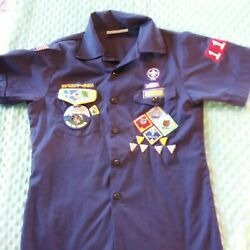 Cub Scout Uniform Youth Large Blue Button Up Shirt With Badges