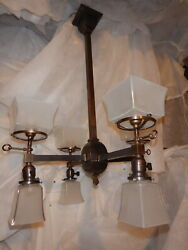 Mission Arts And Crafts Gas And Electric Combo Brass Chandelier Etch Shade-8 Light