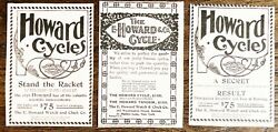 C1890s E.howard Watchandclock Co.vtg Cycles Bicycle Typography Art Print Ad Lot 3