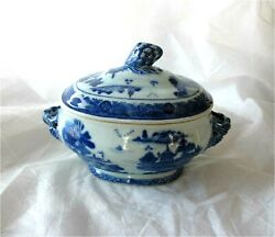 1780 Antique Chinese Canton Blue And White Porcelain Bowl Lid Tureen Qianlong