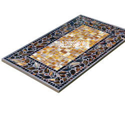 5'x2.5' Marble Dining Table Top Inlay Stones Mosaic Occasional Hallway Decor