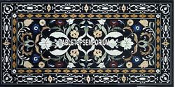 2.5and039x5and039 Black Marble Dining Center Table Top Gemstone Inlay Furniture Home Decor