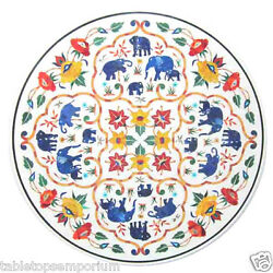2.5' Marble Center Table Top Multi Floral Lapis Elephant Art New Year Home Decor
