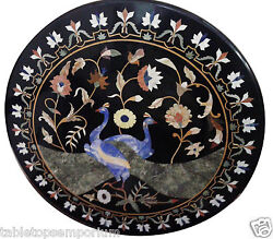 36 Marble Round Dining Table Top Lapis Peacock Floral Inlay All Occasion Decor
