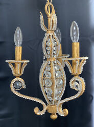 Petite French Crystal Beaded Chandelier Gilt Metal Tole 3 Light Hall Fixture