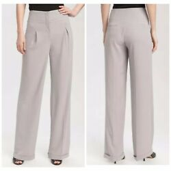 Ted Baker Wide Leg Pleated Front Gray Trouser Career Pants Womens Sz. 4 209