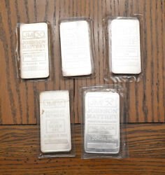 Five Old Johnson Matthey 10 Ounce 999 Fine Silver Bars Free Shipping