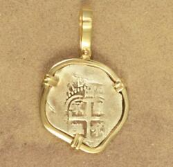 Authentic 1 Reale Cob Treasure Coin In Solid 14kt Gold Pendant Dated 1665