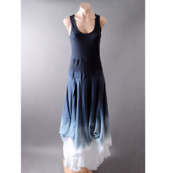 Blue White Ombre Bohemian Cotton Bustle Skirt Peasant Gown Long Maxi Dress S M L
