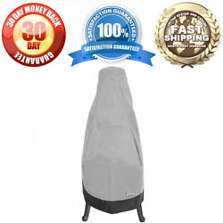 Waterproof Outdoor Round Base Patio Chiminea Cover - Fits Up To 52.75 H - Grey